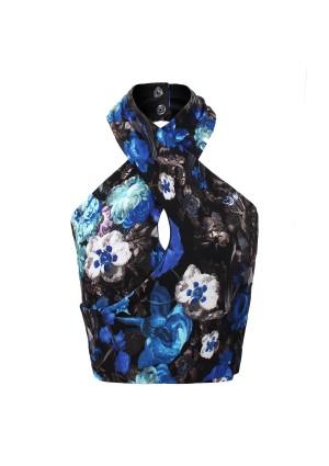 Lavish Alice Blue Floral Halter Neck Crossover Crop Top - Lavish Alice