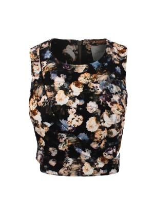 Lavish Alice Dark Floral Crossover Crop Top