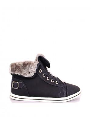 Black Faux Fur Trim Fold Down Hi Top Boots